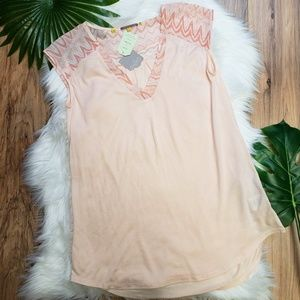 Anthropologie NWT Little Yellow Button Peach Top